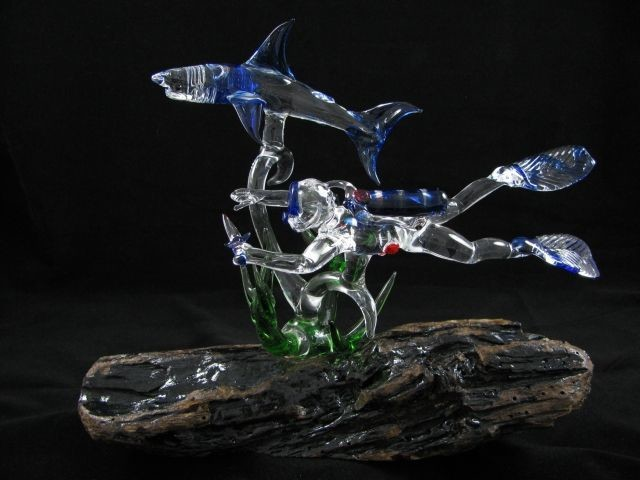 Scuba Diver and Reef Shark with Seaweed on (Your Choice) Base