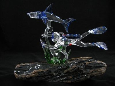 Scuba Diver and Reef Shark with Seaweed on Driftwood Base