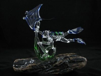 Scuba Diver and Manta Ray with Seaweed on Driftwood Base