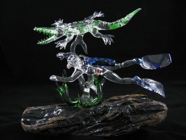 Diver and Crocodile with Seaweed on (Your Choice) Base