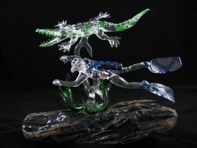 Diver and Crocodile with Seaweed on Driftwood Base
