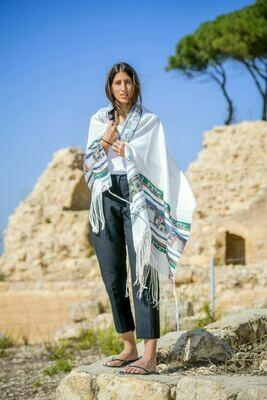 Jerusalem -Small GREEN Tallit (Prayer Shawl)