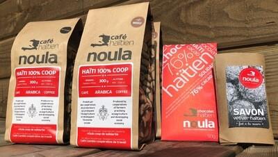 PROMO MASQUES CAMP-PERRIN /HAÏTI FUTUR: 4 sacs de 300 g, 1 tablette de chocolat de 50 g et 1 savon au vétiver (livraison gratuite au Québec et Ontario)