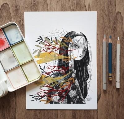 Flowered girl Print