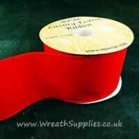Festive wired red velvet bow ribbon