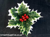 Large polyester silk holly with red berries single