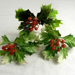 SIngle plastic holly pick with red berries