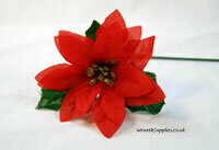 Single Red Poinsettia Pick A high quality red poinsettia polyester 'silk' pick with green leaves