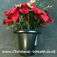 Christmas Memorial / Grave Pots Artificial red poinsettia Christmas grave / crem pots. RRP £12.95