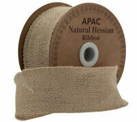 Natural Hessian Ribbon Natural sack cloth hessian ribbon for a rustic look. Perfect for Autumnal crafts and decorations. 50mm wide and approx 9.1m (10 yards