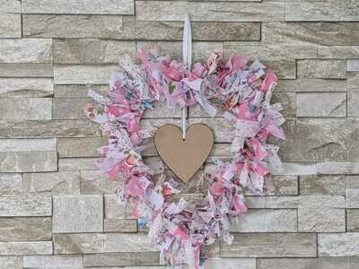 Hand Made rag wreath with customiseable wooden heart, one off, special price.