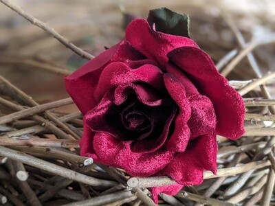 """Sale!  Beautiful, premium soft touch, deep red velvet artificial rose. Approx 23"""" stem. RRP £14.99."""