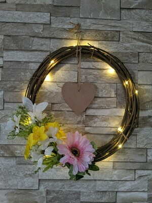 Light up willow spring, mothers day wreath.