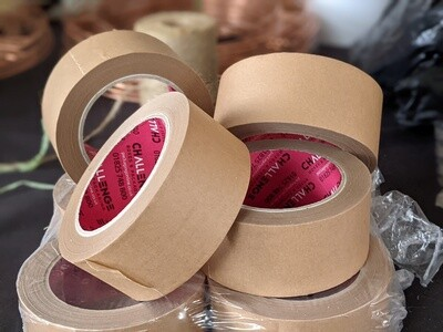 Strong eco friendly self adhesive paper tape 50mm, 50m roll, premium kraft and budget brown paper.