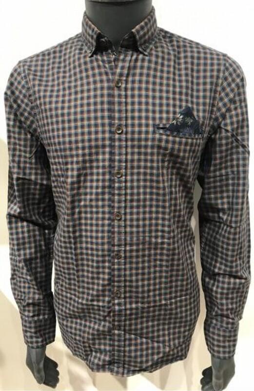 Basefield geruit shirt 219015774 blue