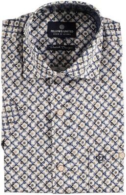 Fellows shirt 11.6649-141 blauw/beige