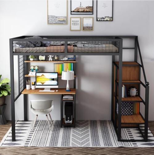 Custom Made Steel Bed Frame with Desk & Shelves