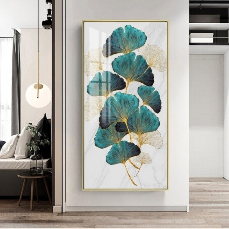 Golden Green Plant Painting