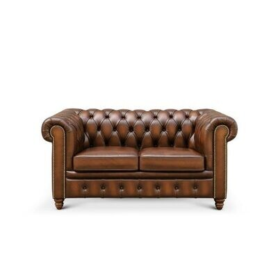 Custom Made Leather Chesterfield - 2 seater