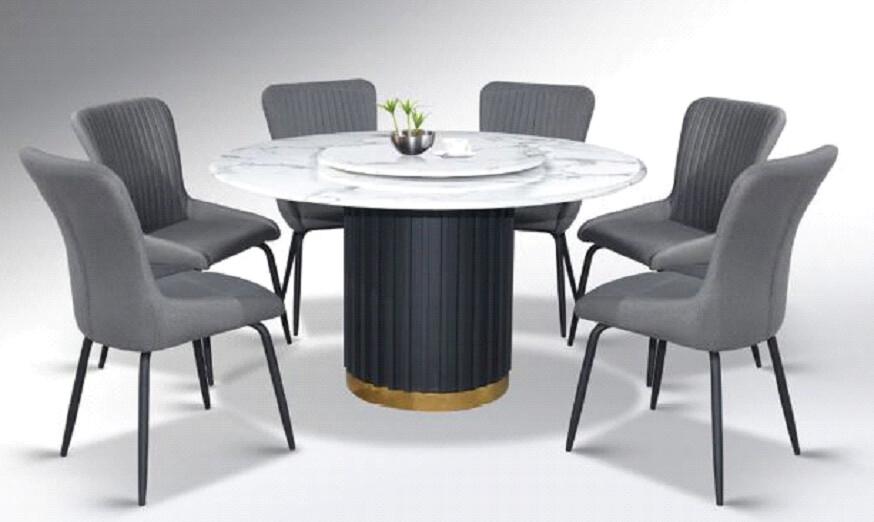 Custom Made Juda Marble Round Dining Set