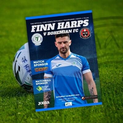 Issue 1 2021, Finn Harps v Bohemians Programme