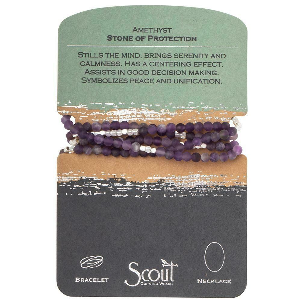 Stone Wrap Bracelet/Necklace - Amethyst/Silver
