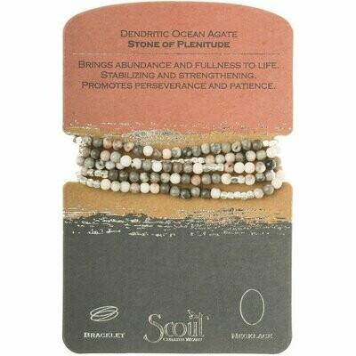 Stone Wrap Bracelet/Necklace - Dendritic Ocean Agate Stone of Plentitude