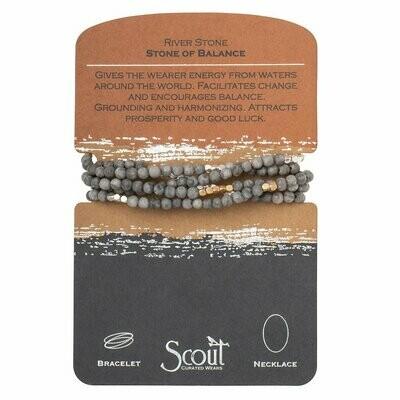 Stone Wrap Bracelet/Necklace - River Stone Silver/Gold