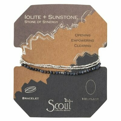 Delicate Stone Bracelet/Necklace - Iolite Sunstone/Silver