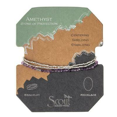 Delicate Stone Bracelet/Necklace - Amethyst/Silver