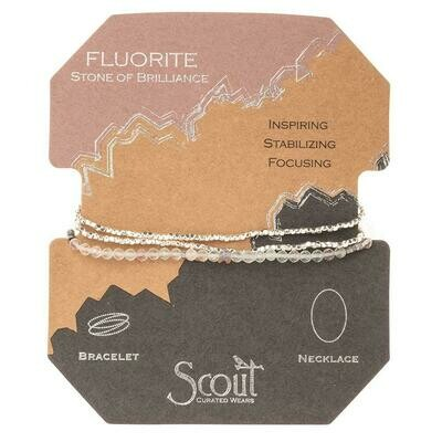 Delicate Stone Bracelet/Necklace - Fluorite/Silver