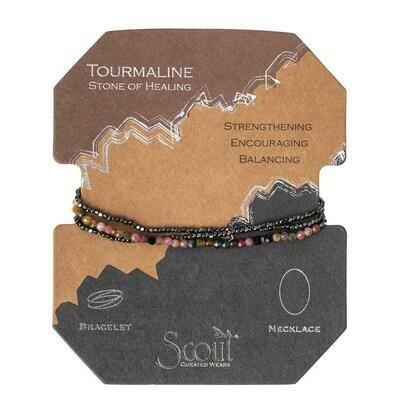 Delicate Stone Bracelet/Necklace - Tourmaline/Gold