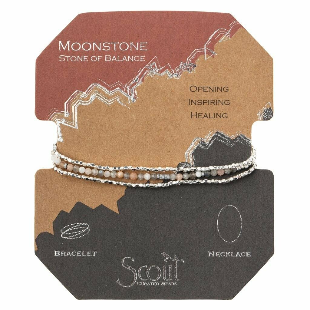 Delicate Stone Bracelet/Necklace - Moonstone/Silver