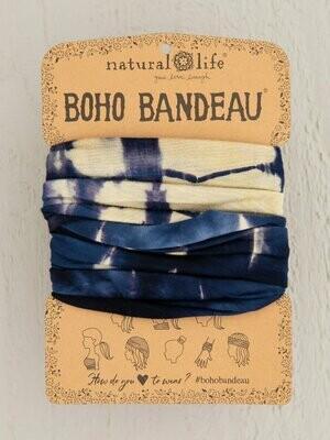 Cream Navy Tie-Dye Boho Bandeau