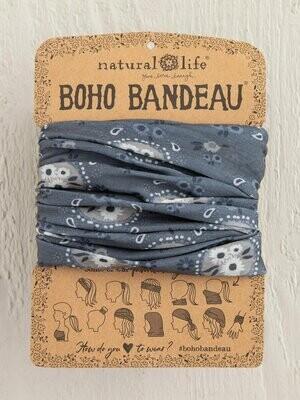 Charcoal Floral Bubbles Boho Bandeau