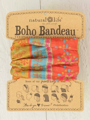 Red Floral Stripes Boho Bandeau