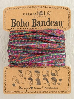 Multi Scalloped Rows Print Boho Bandeau