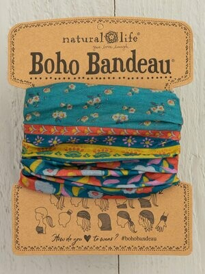 Turquoise Floral Border Boho Bandeau