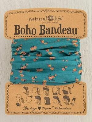 Turquoise Floral Print Boho Bandeau