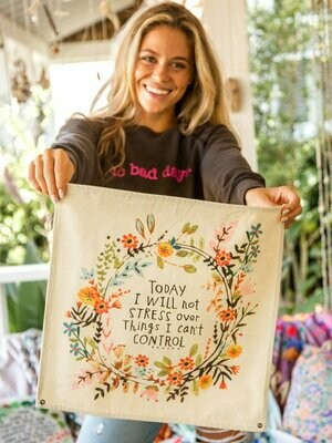Today I Will Not Stress Mini Canvas Tapestry