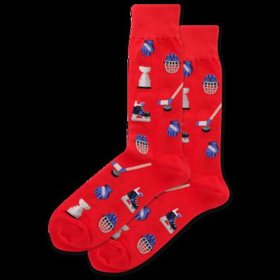 Hockey - Red  Mens Socks