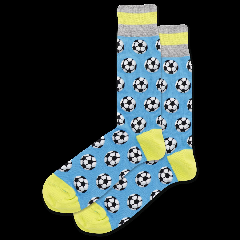 Soccer Balls - Turquoise Mens Socks