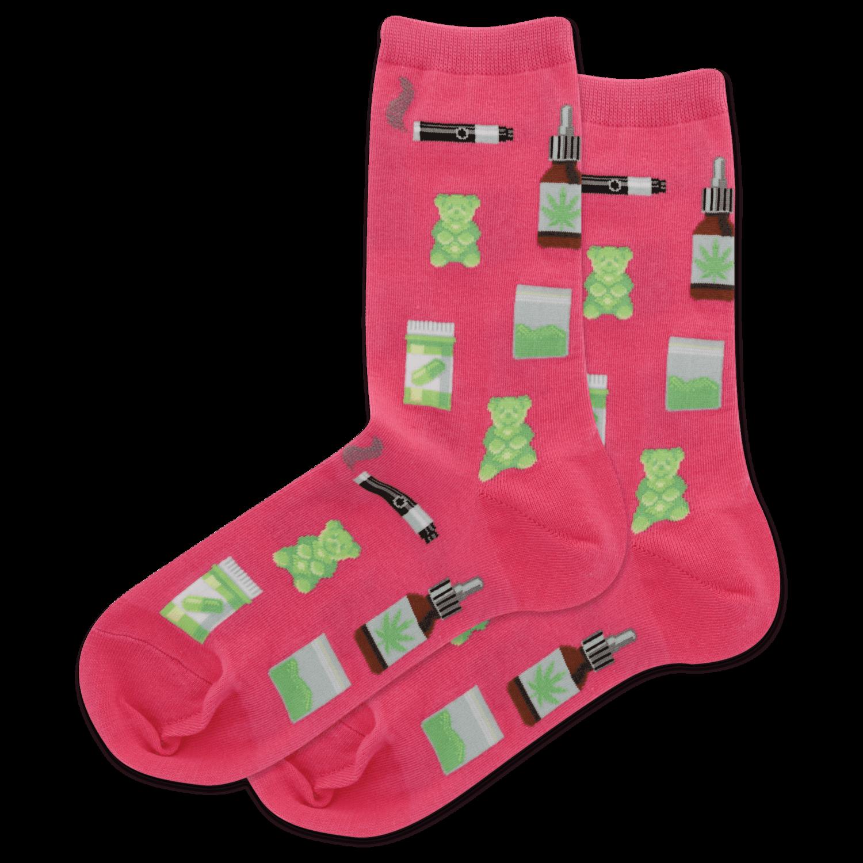 Medical Marijuana MAGENTA Womens Sock