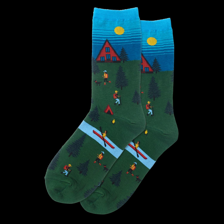 Cabin Scene - Olive Womens Socks