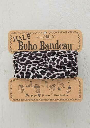 Gray Leopard Half Boho Bandeau
