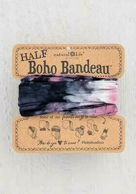 Rose Black White Tie-Dye Half Boho Bandeau