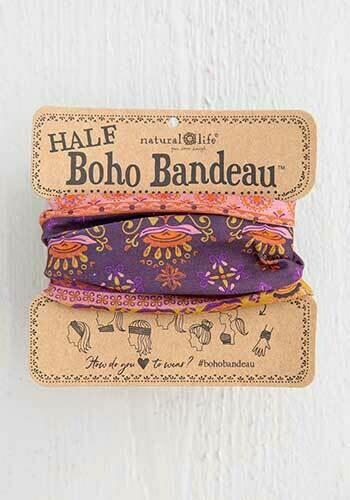 Purple Border Half Boho Bandeau