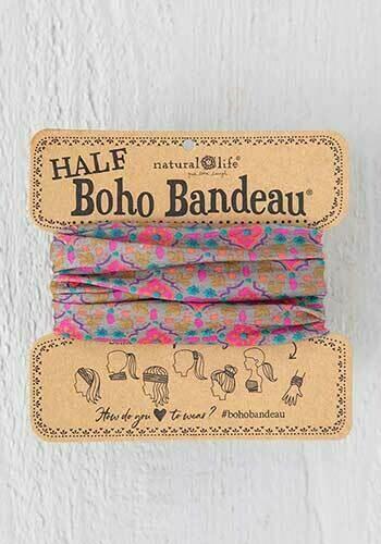 Grey Pink Stamp Half Boho Bandeau