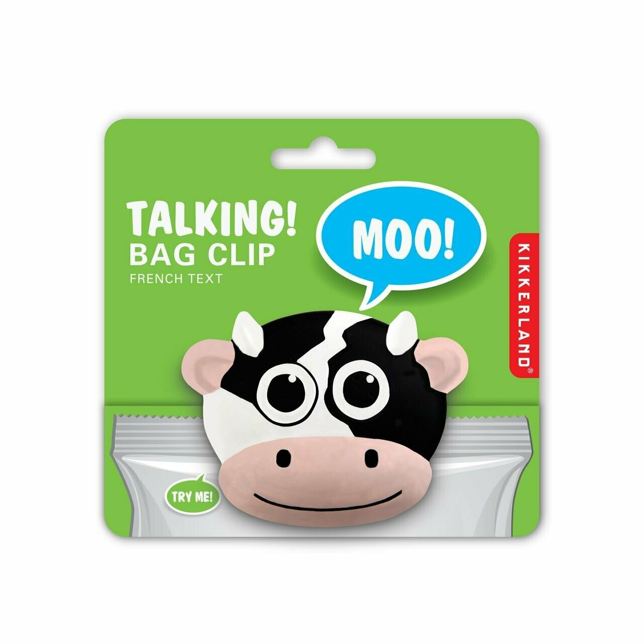 Talking Bag Clip Cow