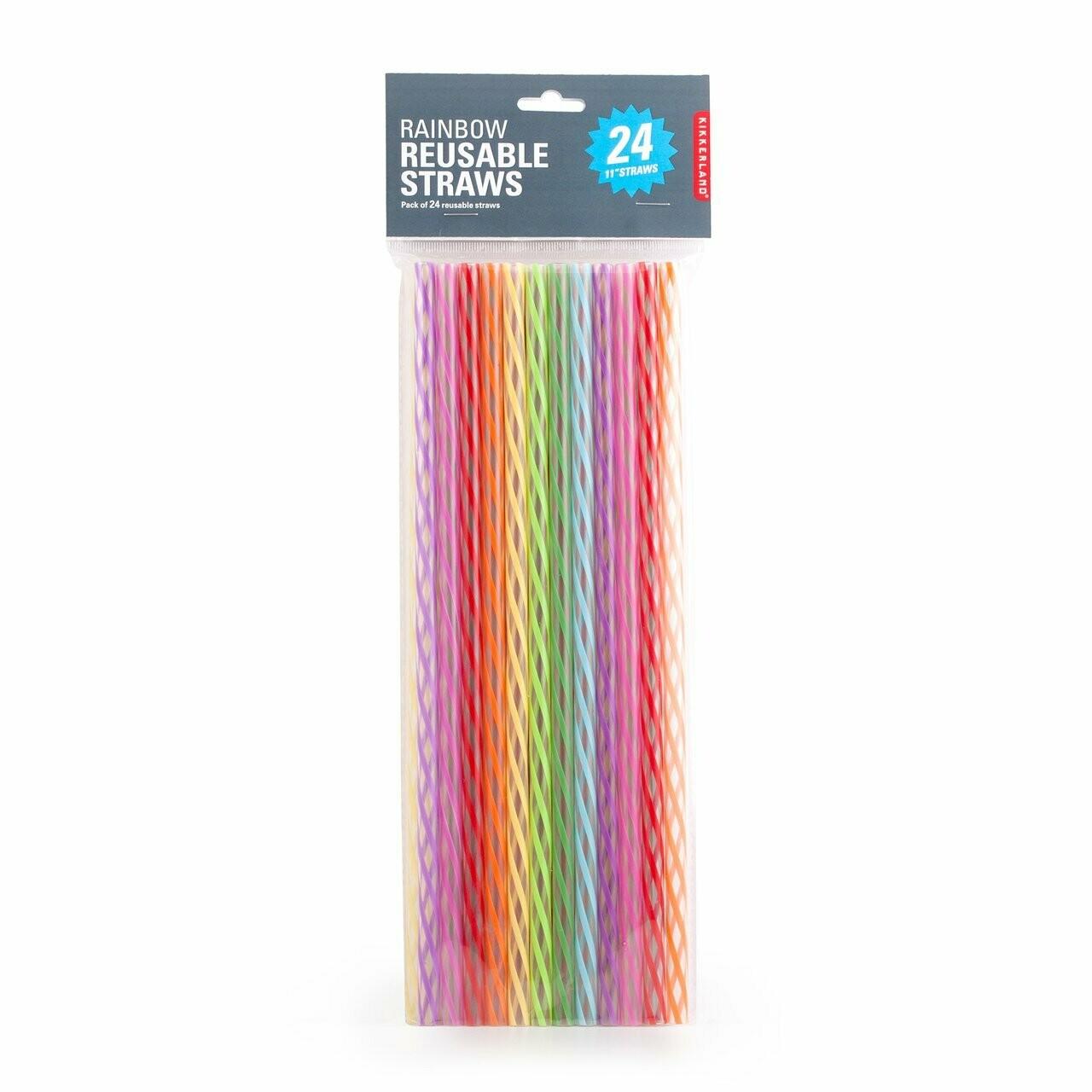 """11"""" Tall Rainbow Reusable Straws"""